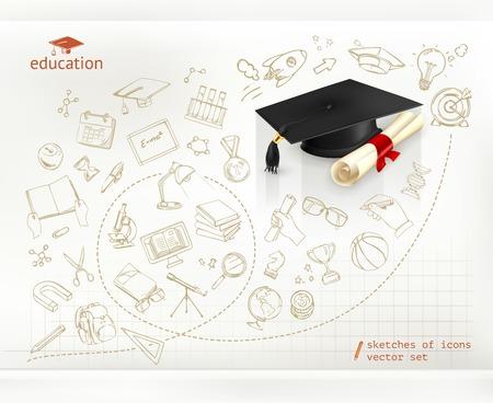 Illustration pour Studying and education, infographics vector - image libre de droit