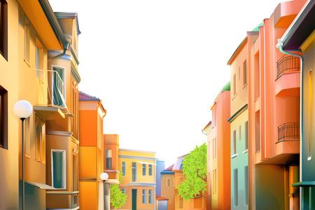 Illustration pour Urban landscape, a typical residential street of the provincial town - image libre de droit