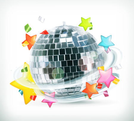 Party, stars and disco ball, vector icons