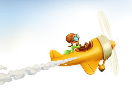 Ilustración de Funny airplane, vector cartoon isolated on white background - Imagen libre de derechos