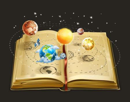 Illustration pour Book on astronomy, vector icon - image libre de droit