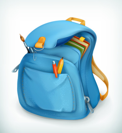 Illustration pour Blue school bag, vector icon - image libre de droit