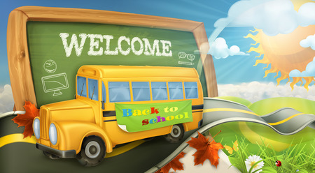 Illustration pour Road to school vector background - image libre de droit