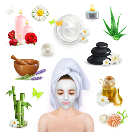 Illustration for Set with spa, beauty and care vector icons - Royalty Free Image