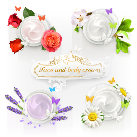Set with cream concepts, vector illustrations