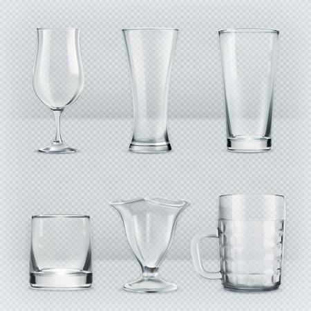 Illustration pour Set with transparent glasses goblets, vector icons - image libre de droit