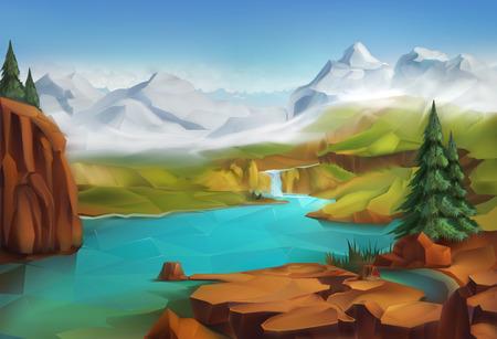 Ilustración de Landscape, nature vector illustration background - Imagen libre de derechos