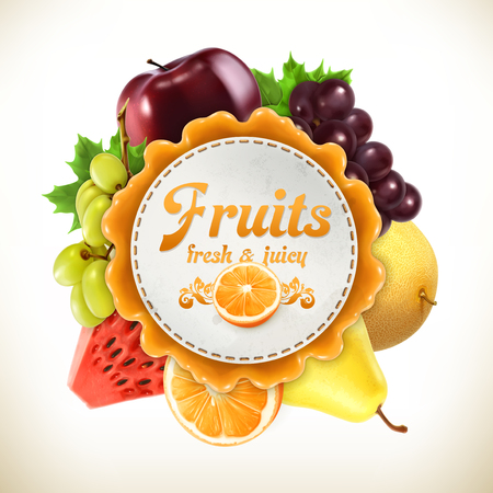 Fruits, vector label, isolated on white background
