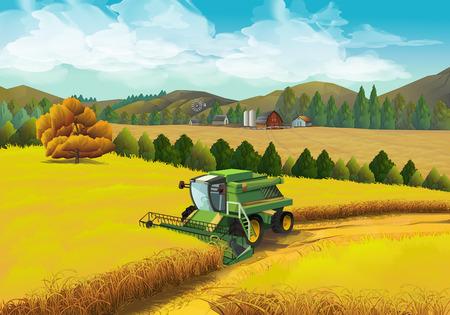 Illustration pour Farm rural landscape, vector background - image libre de droit