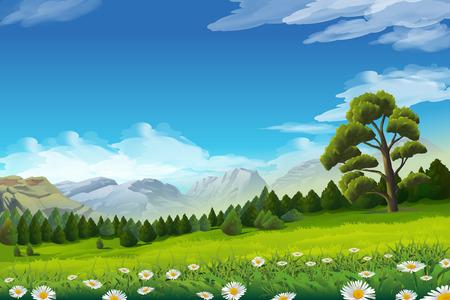 Spring landscape, vector illustration background