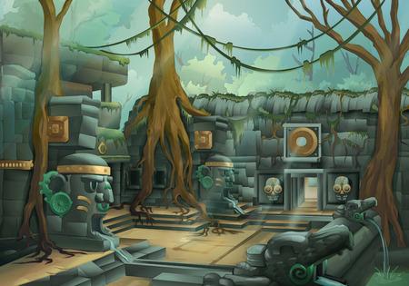 Ilustración de Ruins jungle illustration - Imagen libre de derechos