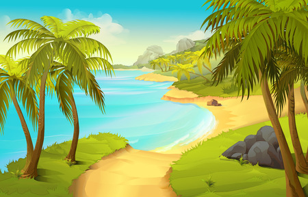 Illustration pour Tropical beach, vector illustration background - image libre de droit