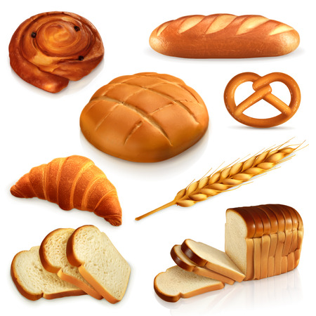 Illustration pour Set ith bread, vector icons , isolated on white background - image libre de droit