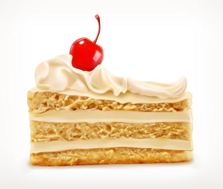 Vektor für Piece of cake with cherry, vector icon, isolated on white background - Lizenzfreies Bild