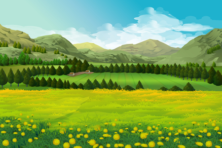 Spring landscape vector illustration background