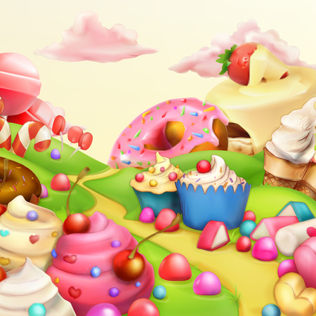 Sweet landscape vector illustration background
