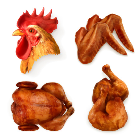 Set with grilled chicken, icons
