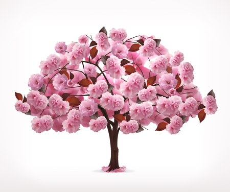 Illustration pour Spring pink tree, icon, isolated on white background - image libre de droit