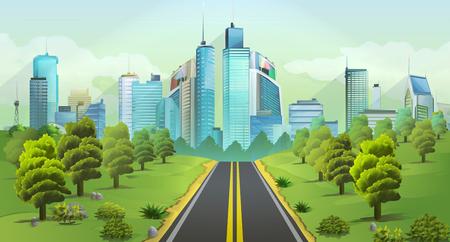 Illustration pour City and nature, vector landscape - image libre de droit