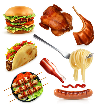 Fast food, set vector icons, isolated on white background