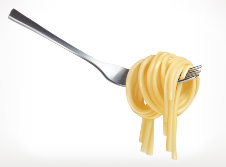Pasta on fork, vector icon, isolated on white background