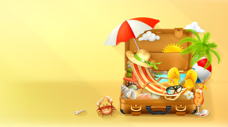 Ilustración de Beach vacation. Summer background, vector illustration - Imagen libre de derechos