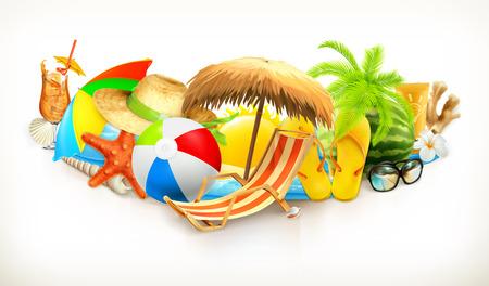 Illustration pour Summer beach set vector illustration - image libre de droit