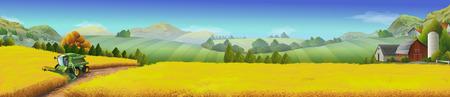 Illustration pour Wheat field, rural landscape, vector background - image libre de droit