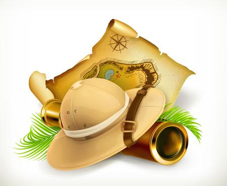 Ilustración de Pith helmet. Treasure map. Adventure vector icon,  on white background - Imagen libre de derechos