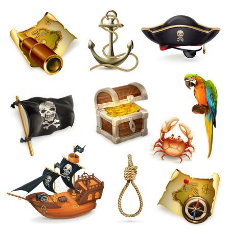Illustration pour Sea pirates, vector icon set  on white background - image libre de droit