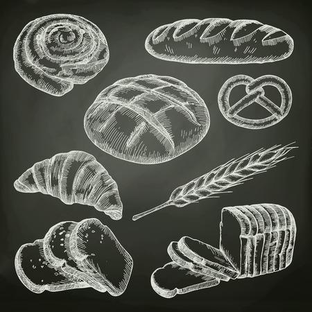 Illustration pour Bread, sketches on the chalkboard vector set - image libre de droit