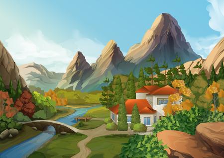 Ilustración de House in the mountains, nature landscape, vector background - Imagen libre de derechos