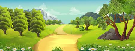 Illustration pour Nature landscape, rural road, vector background - image libre de droit