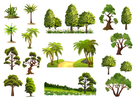Illustration for Trees, nature, forest, vector icons set - Royalty Free Image