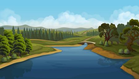 Illustration pour Nature landscape, river, vector background - image libre de droit