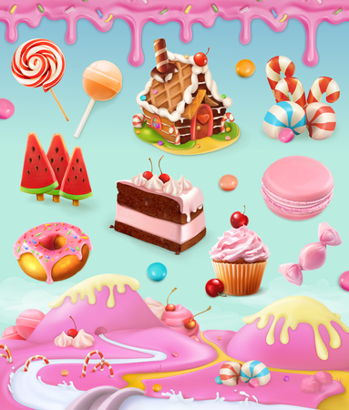 Vektor für Confectionery and desserts, cake, cupcake, candy, lollipop, whipped cream, icing, set of vector graphics objects with sweet pink background, mesh illustration - Lizenzfreies Bild