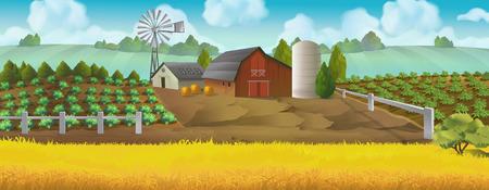 Illustration pour Farm. Panorama landscape, Vector background - image libre de droit