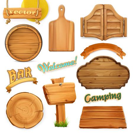 Illustration pour Wooden sign set. Template for logo, emblem. 3d vector - image libre de droit