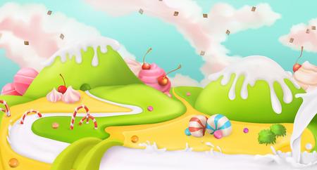 Sweet landscape, vector background