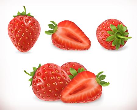 Illustration pour Strawberry. Sweet fruit. 3d vector icons set. Realistic illustration - image libre de droit