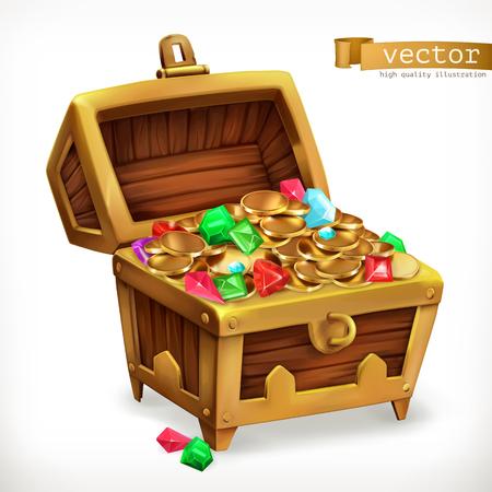 Illustration pour Treasure chest. Gems and gold coins. - image libre de droit
