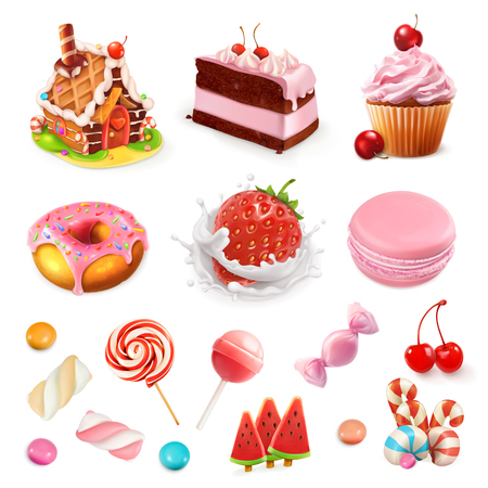 Illustration for Confectionery and desserts. Strawberry and milk, cake, cupcake, candy, lollipop. Pink 3d vector icon set - Royalty Free Image