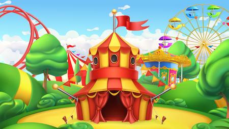 Illustration pour Circus tent in Amusement park vector landscape. - image libre de droit