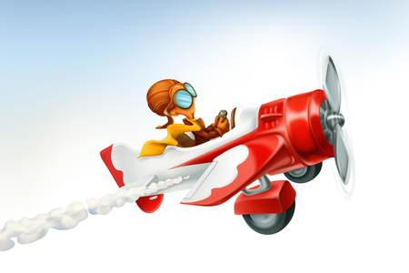 Ilustración de Funny airplane, 3d vector cartoon isolated on white background. - Imagen libre de derechos