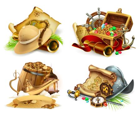 Treasure hunt and adventure, game icon. 3d vector icon set