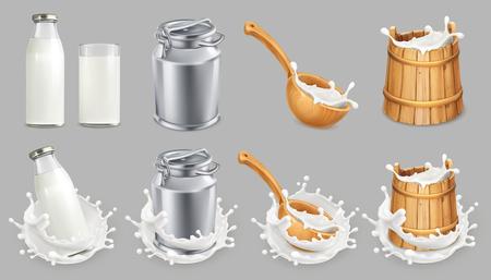 Vektor für Milk can and splash. Natural dairy products. 3d vector icon set - Lizenzfreies Bild