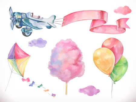 Ilustración de Watercolor air. Kite, airplane, cotton candy and clouds, balloons. Vector icon set - Imagen libre de derechos
