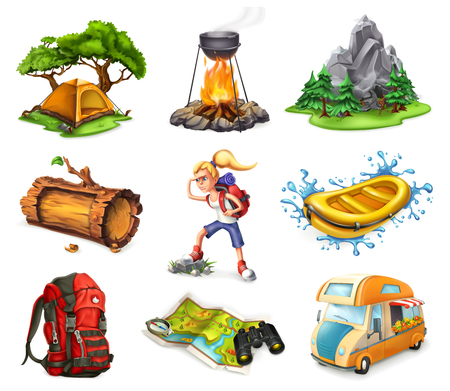Ilustración de Camp and adventure, 3d vector icons set isolated on white background - Imagen libre de derechos