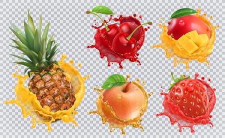 Illustration pour Pineapple, strawberry, apple, cherry, mango juice. Fresh fruits and splashes, 3d vector icon set - image libre de droit