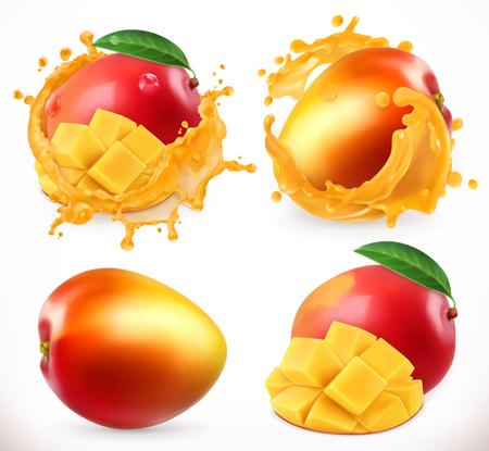 Illustration pour Mango juice. Fresh fruit, 3d realistic vector icon - image libre de droit